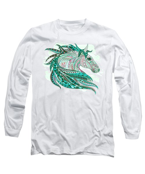 Sea Green Ethnic Horse Long Sleeve T-Shirt