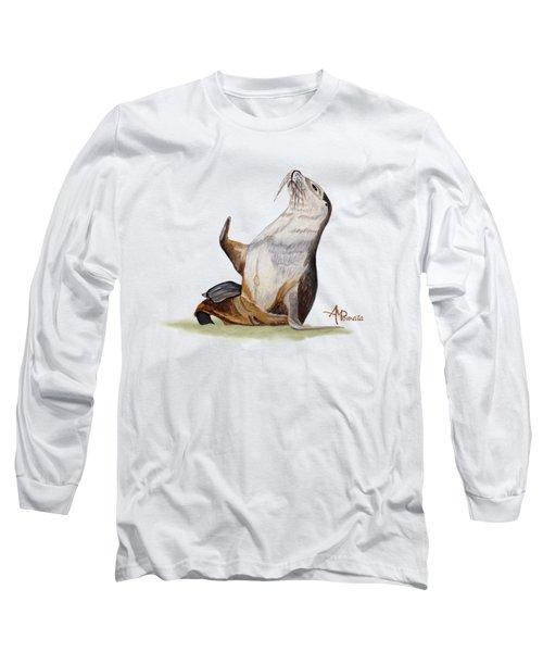 Sea Lion Watercolor II Long Sleeve T-Shirt