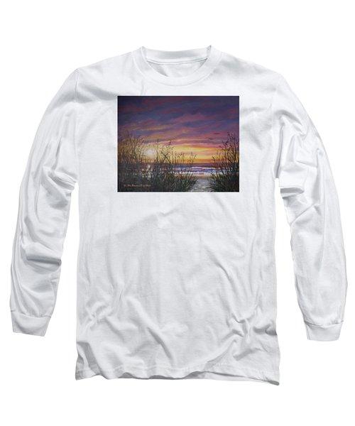 Sea Oat Sunrise # 3 Long Sleeve T-Shirt by Kathleen McDermott