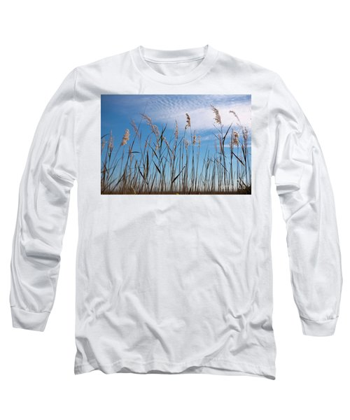 Long Sleeve T-Shirt featuring the photograph Sea Oats And Sky On Outer Banks by Dan Carmichael