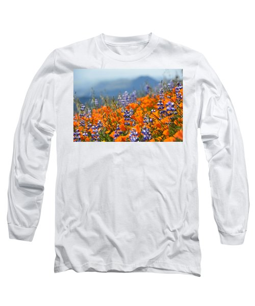 Sea Of California Wildflowers Long Sleeve T-Shirt by Kyle Hanson