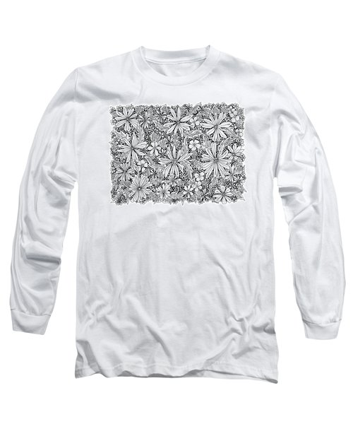 Sea Of Flowers And Seeds At Night Horizontal Long Sleeve T-Shirt by Tamara Kulish