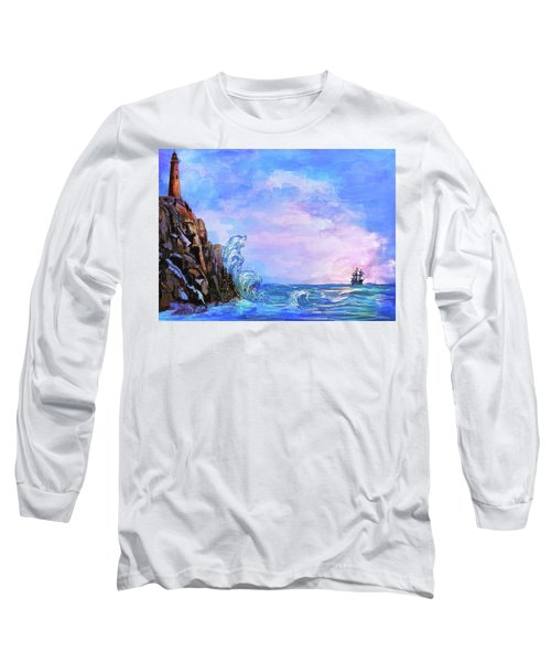 Long Sleeve T-Shirt featuring the painting Sea Stories 2  by Andrzej Szczerski