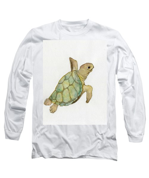 Long Sleeve T-Shirt featuring the painting Sea Turtle by Annemeet Hasidi- van der Leij