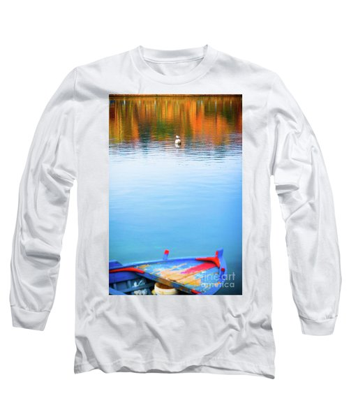 Long Sleeve T-Shirt featuring the photograph Seagull And Boat by Silvia Ganora
