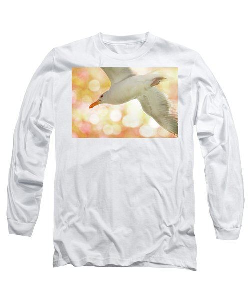 Seagull On Pink And Yellow Sky Long Sleeve T-Shirt
