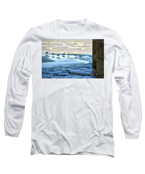 Seagulls At Waters Edge Long Sleeve T-Shirt by Cedric Hampton