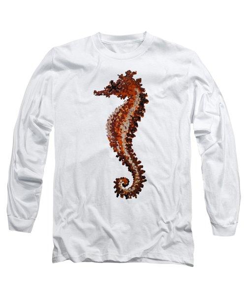 Brown Seahorse Bathroom Decor Art Print Long Sleeve T-Shirt by Jurgita