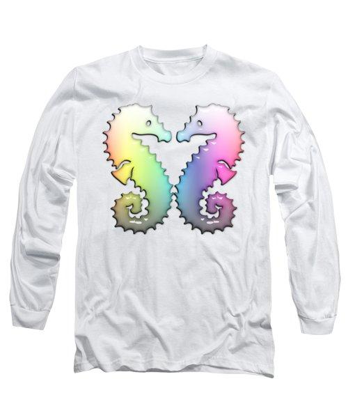 Seahorse Tango Soft Rainbow Drops Long Sleeve T-Shirt by Di Designs