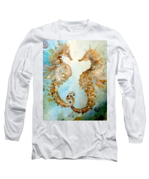 Seahorses In Love 2016 Long Sleeve T-Shirt by Dina Dargo