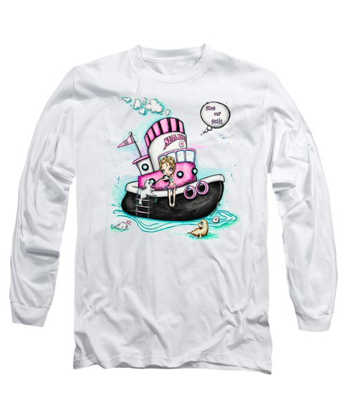 Long Sleeve T-Shirt featuring the painting Seal Love by Lizzy Love