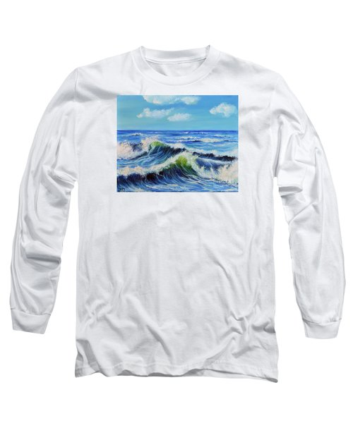 Long Sleeve T-Shirt featuring the painting Seascape No.3 by Teresa Wegrzyn