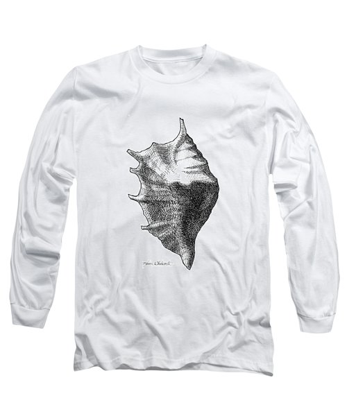 Long Sleeve T-Shirt featuring the drawing Seashell 1 - Nautical Beach Drawing by Karen Whitworth