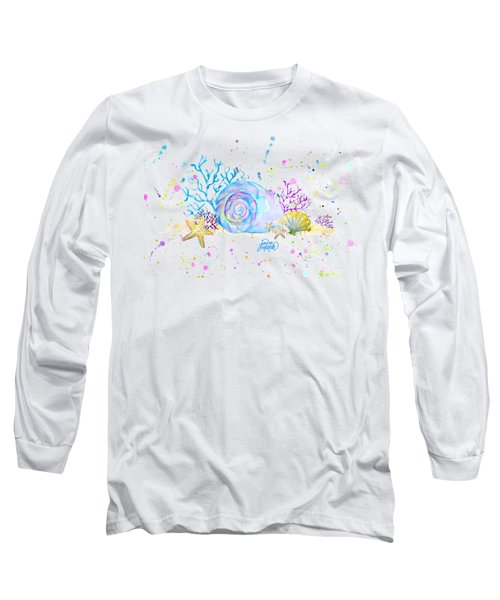 Seashells And Coral Watercolor Long Sleeve T-Shirt