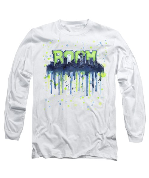Seattle 12th Man Legion Of Boom Watercolor Long Sleeve T-Shirt