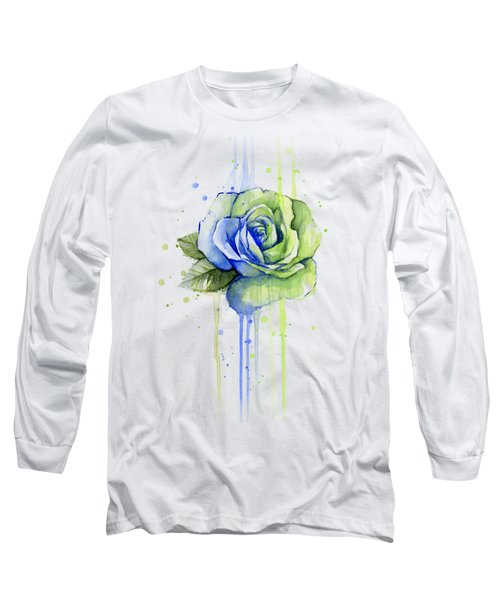 Seattle 12th Man Seahawks Watercolor Rose Long Sleeve T-Shirt by Olga Shvartsur