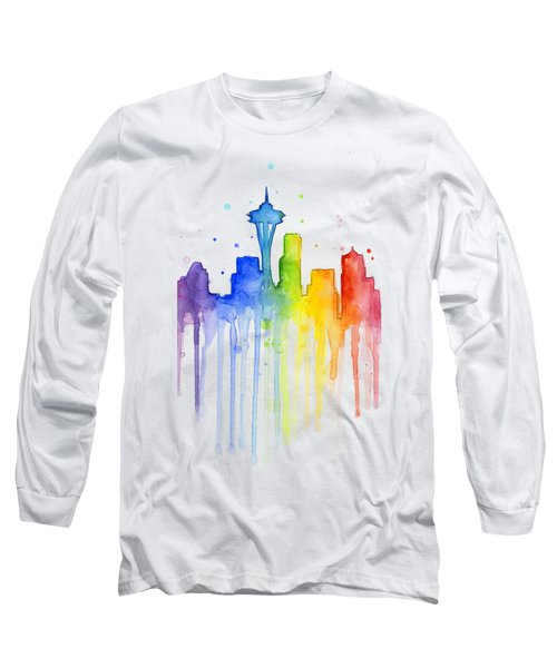 Seattle Rainbow Watercolor Long Sleeve T-Shirt