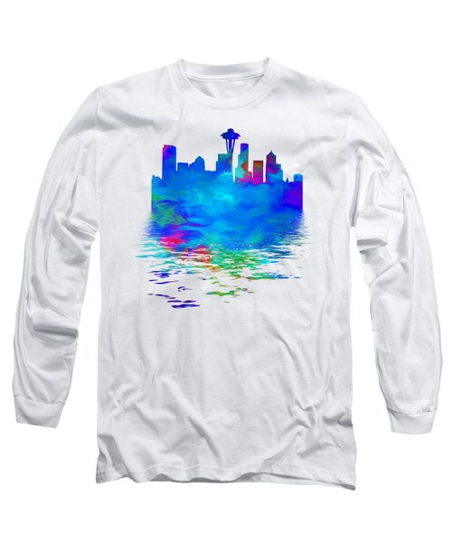 Seattle Skyline, Blue Tones On White Long Sleeve T-Shirt by Pamela Saville