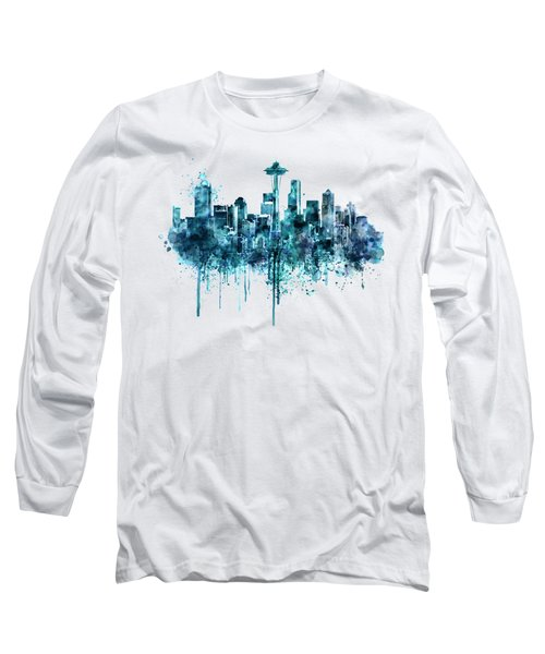 Seattle Skyline Monochrome Watercolor Long Sleeve T-Shirt