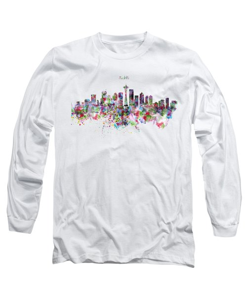 Seattle Skyline Silhouette Long Sleeve T-Shirt by Marian Voicu