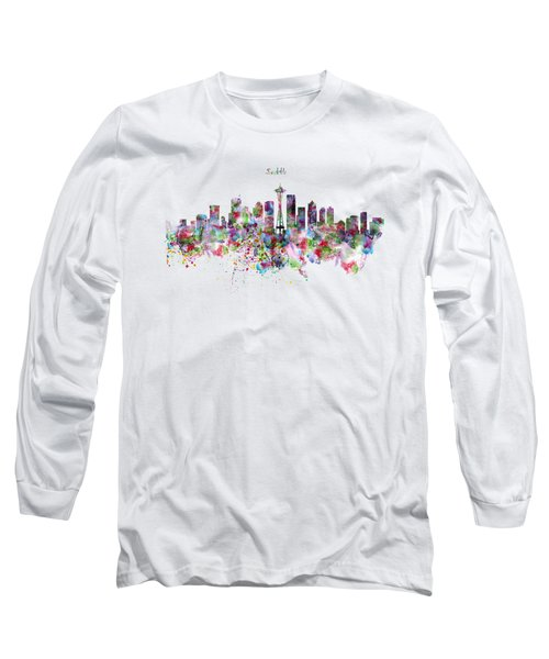 Seattle Skyline Silhouette Long Sleeve T-Shirt