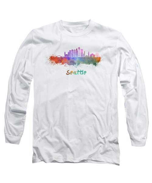Seattle V2 Skyline In Watercolor Long Sleeve T-Shirt by Pablo Romero