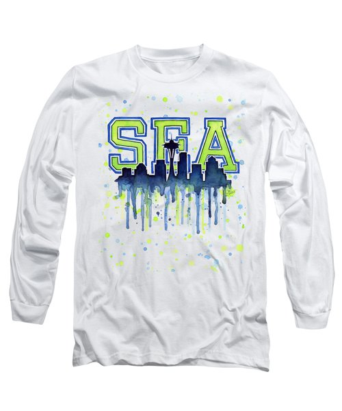 Seattle Watercolor 12th Man Art Painting Space Needle Go Seahawks Long Sleeve T-Shirt