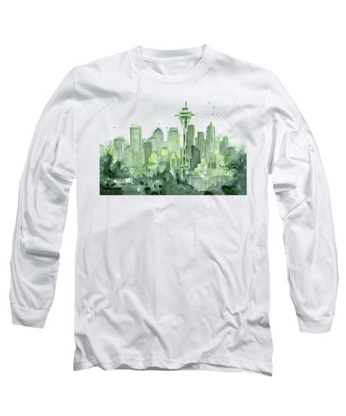 Seattle Watercolor Long Sleeve T-Shirt by Olga Shvartsur