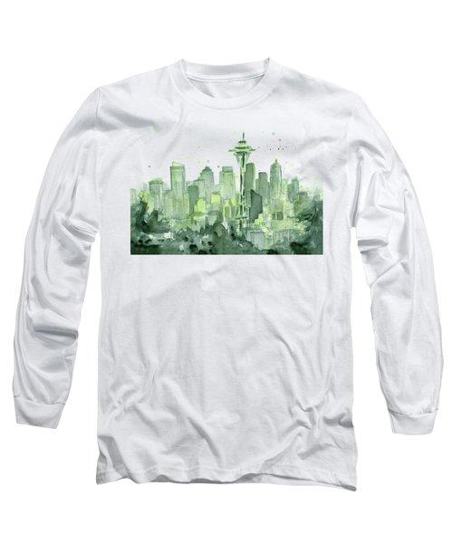 Seattle Watercolor Long Sleeve T-Shirt