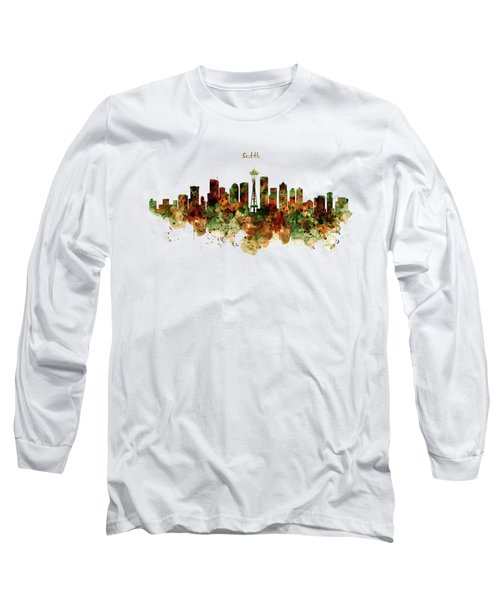 Seattle Watercolor Skyline Poster Long Sleeve T-Shirt by Marian Voicu