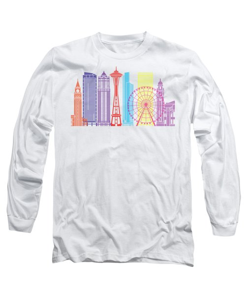 Seattle_v2 Skyline Pop Long Sleeve T-Shirt by Pablo Romero