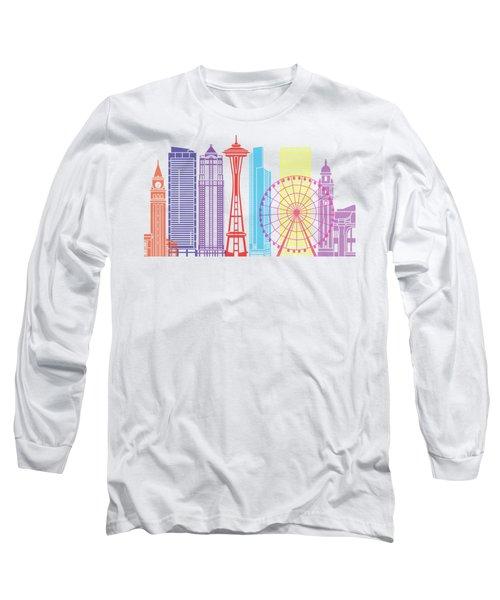 Seattle_v2 Skyline Pop Long Sleeve T-Shirt