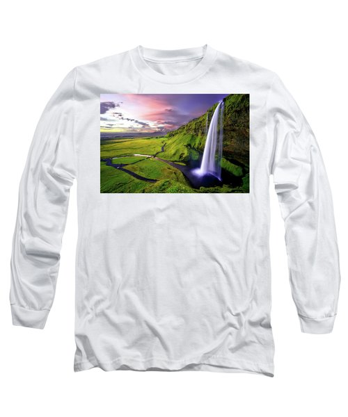 Seljalandsfoss Waterfall Long Sleeve T-Shirt