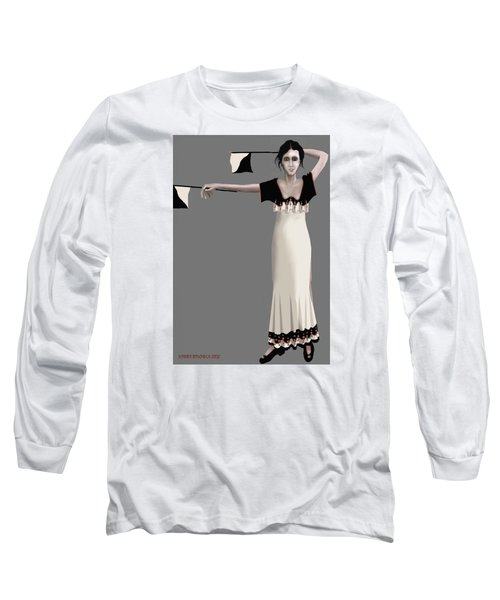 Long Sleeve T-Shirt featuring the digital art Semaphore Girl by Kerry Beverly