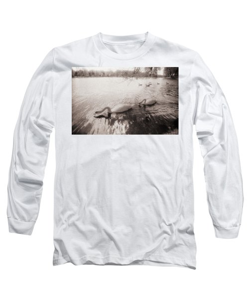 Sepia Swans Long Sleeve T-Shirt