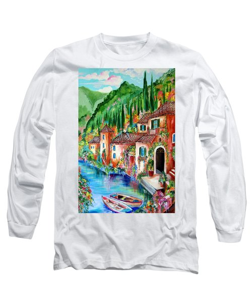 Long Sleeve T-Shirt featuring the painting Serenity By The Lake by Roberto Gagliardi