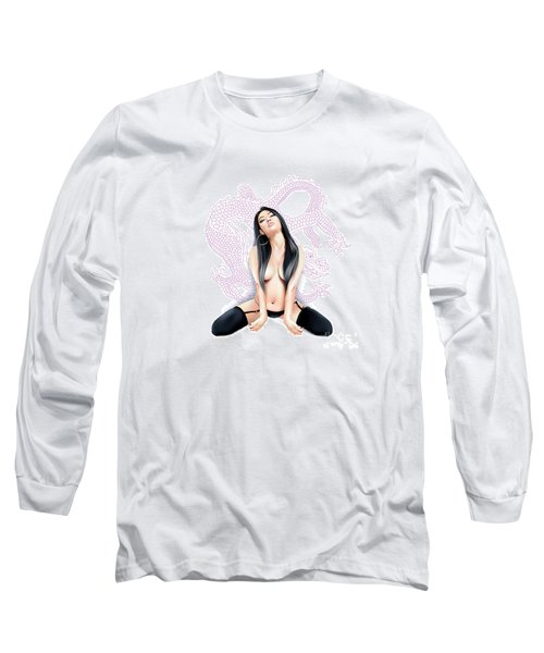 Long Sleeve T-Shirt featuring the drawing Sexy Asian Dragon by Brian Gibbs