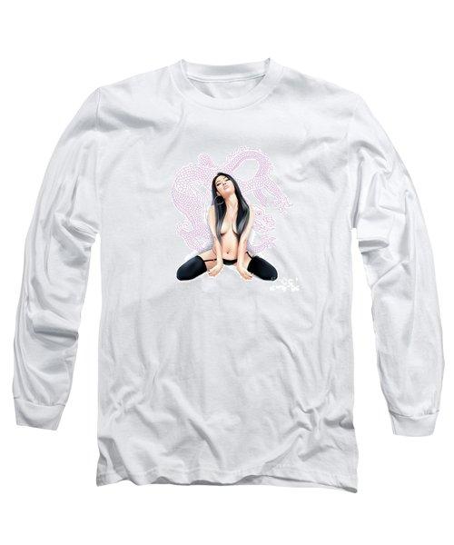 Long Sleeve T-Shirt featuring the digital art Sexy Asian Dragon by Brian Gibbs
