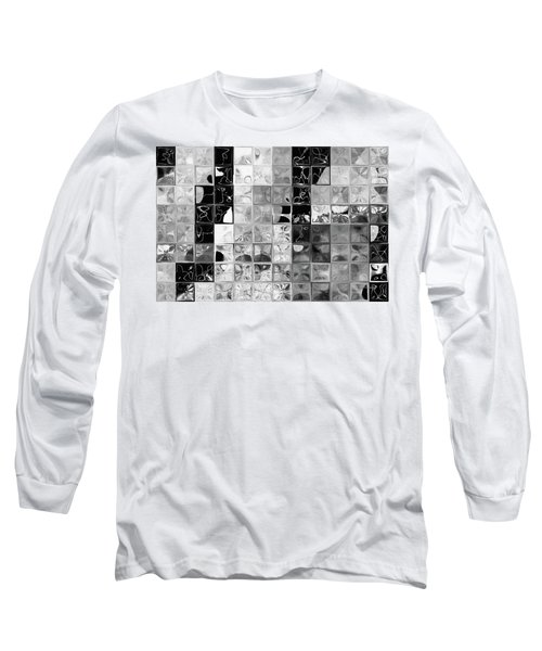 Shades Of Gray Tile Mosaic. Tile Art Painting Long Sleeve T-Shirt by Mark Lawrence