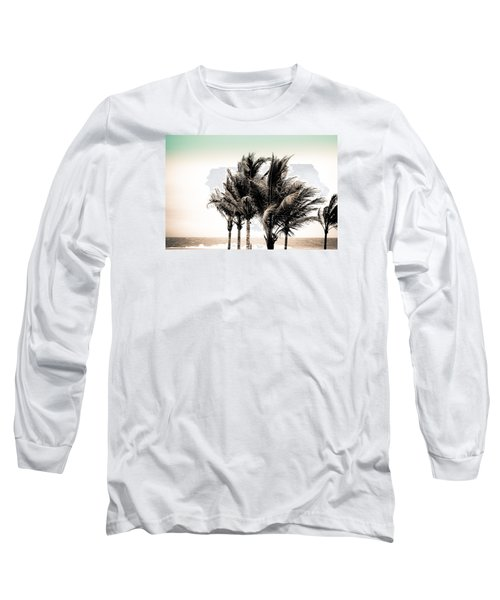 Shades Of Palms - Aqua Brown Long Sleeve T-Shirt