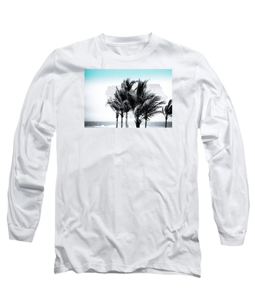Shades Of Palms - Silver Blue Long Sleeve T-Shirt by Colleen Kammerer