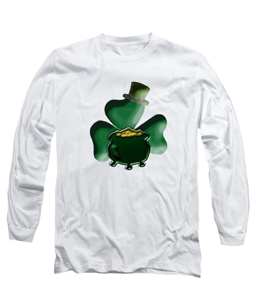 Shamrock And Pot Of Gold Long Sleeve T-Shirt by Judy Hall-Folde