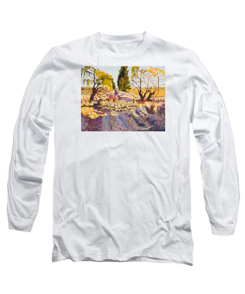 Sheep And Shepherd At Sunset Oil Painting Bertram Poole Long Sleeve T-Shirt