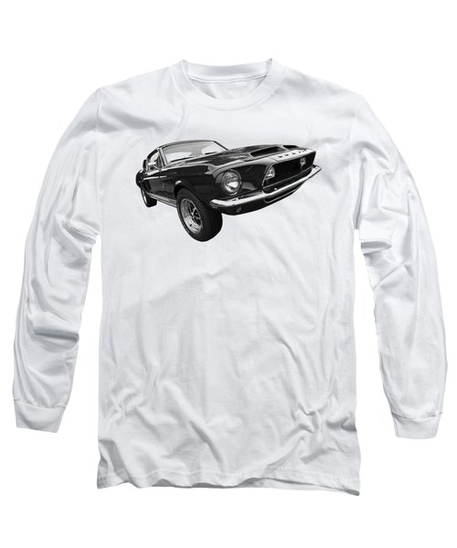 Shelby Gt500kr 1968 In Black And White Long Sleeve T-Shirt by Gill Billington