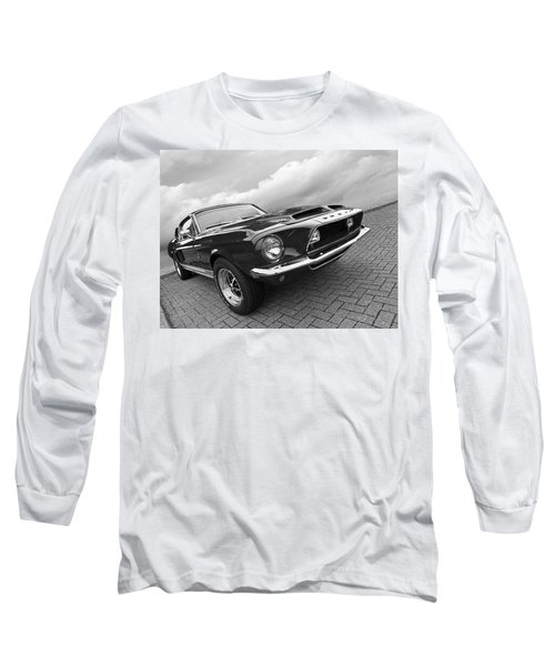 Shelby Gt500kr 1968 In Black And White Long Sleeve T-Shirt