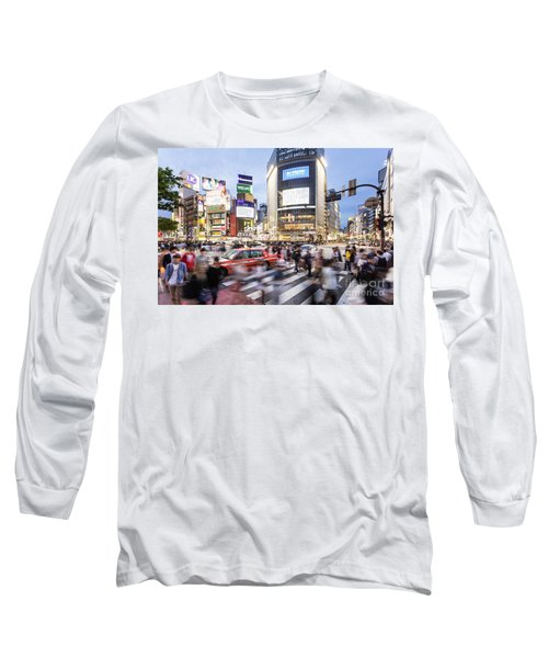 Shibuya Crossing At Night In Tokyo Long Sleeve T-Shirt