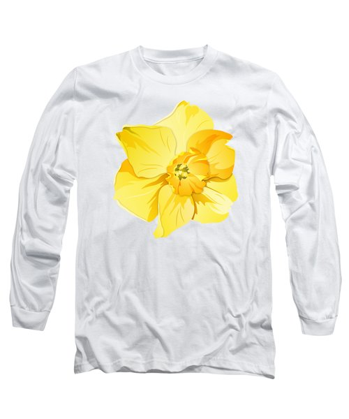 Short Trumpet Daffodil In Yellow Long Sleeve T-Shirt by MM Anderson