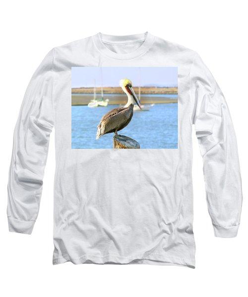 Shy Brown Pelican Long Sleeve T-Shirt by Haleh Mahbod