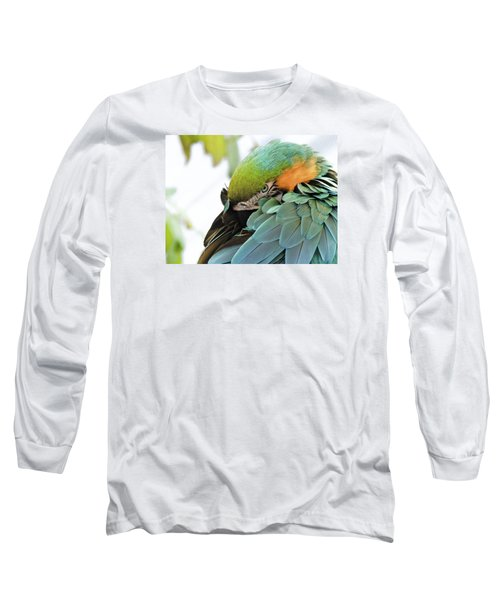 Long Sleeve T-Shirt featuring the photograph Shy Macaw by Penny Lisowski