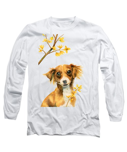 Signs Of Spring - Cute Dog With Forsythia Watercolor Painting Long Sleeve T-Shirt